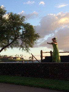 Hula dancing with an ocean view.