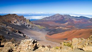 Panoramic view of colorful Haleakala volcano in Maui from summit