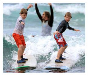 Surfing lessons are great for guests of all ages